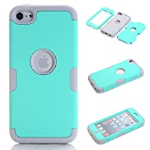 iPod Touch 5 Case,iPod Touch 6 Case, NOKEA Layered 3in 1 Hard PC Case Silicone Shockproof Heavy Duty High Impact Armor Hard Case for Apple iPod Touch 6 5th Generation (Mint+Grey)