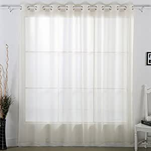 Deconovo Solid Color Delicate Grommet Sheer Curtains Wide Width Curtain Tulle