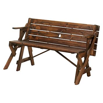 Transforming Wood Garden Bench And Picnic Table   Brown