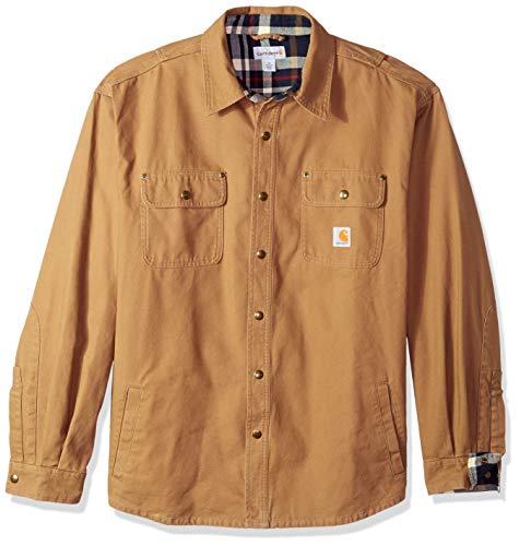 Carhartt Men's Weathered Canvas Shirt Jacket Snap Front,Frontier Brown,Large ()