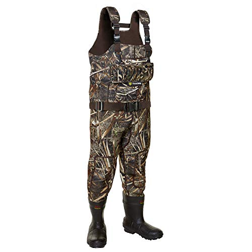 TideWe Hunting Wader, 5mm Neoprene Fleece-Lined Chest Waders with 1600 Gram Insulation Rubber Boots, Waterproof and Durable Liquild Sealed Bootfoot Chest Wader for Fishing and Hunting (Realtree Max 5)