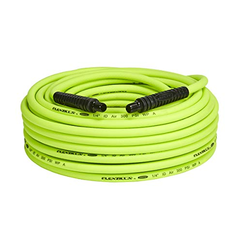 Flexzilla Air Hose, 1/4 in. x 100 ft, 1/4 in. MNPT Fittings, Heavy Duty, Lightweight, Hybrid, ZillaGreen - HFZ14100YW2