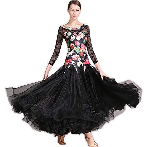 garuda 上品レディース社交ダンス衣装 豪華花柄+レース袖 ボリュームダンスドレス 2色 B07NJDKSVQ Small|ブラック ブラック Small