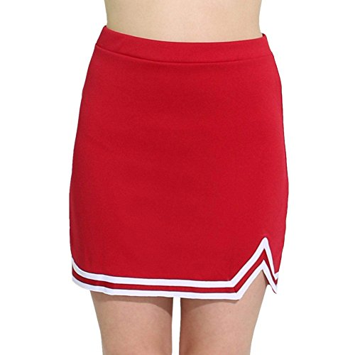 Danzcue Womens Double V A-Line Cheer Uniform Skirt, Scarlet-White, X-Large