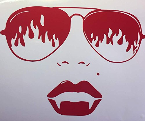 Sexy Vampire Face Vinyl Decal Sticker|Cars Trucks Vans Walls Laptops Cups|Red|5.5 In|KCD793 - Vampire Slayer Sexy Costumes