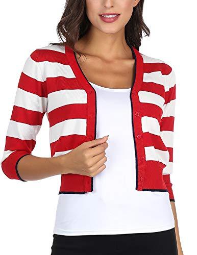 Classic Knit Cardigan Sweater Button Down Striped Open Front Crop Bolero Shrug