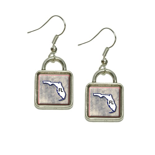 Florida FL State Outline on Faded Blue Dangling Drop Square Charm Earrings