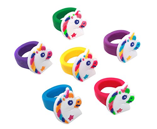 Unicorn Rubber Rings For Party Favors - Pack Of 36 Rings -