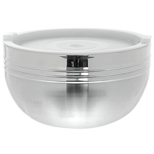 Bon Chef 9320 Stainless Steel 3 Wall Cold Wave Bowl with Stacking Cover, 10.10 Quart Capacity, 13-7/8