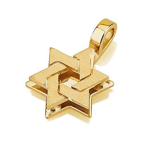 Dual Layered Star of David Pendant in 18K Gold