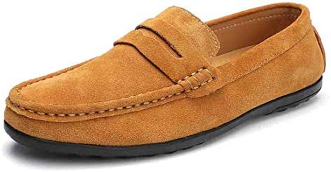 Ruiatoo Mens Driving Penny Loafers Suede Leather Casual Loafer Slip On Dress Boat Shoes