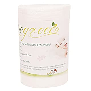 Wegreeco 100% Bamboo Unscented Biodegradable Diaper Liners,Fragance Free and Chlorine Free - 100 Sheets Per Roll ( 1 Roll, Bamboo)