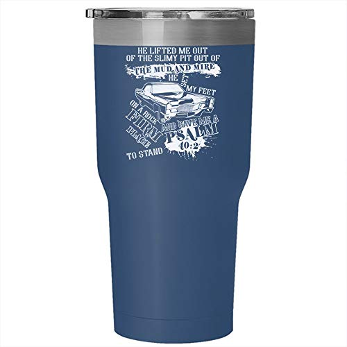 Christmas Mug, He Lifted Me Out Of The Slimy Tumbler 30 oz Stainless Steel, He Sent My Feet On A Rock Travel Mug (Tumbler - Blue) ()