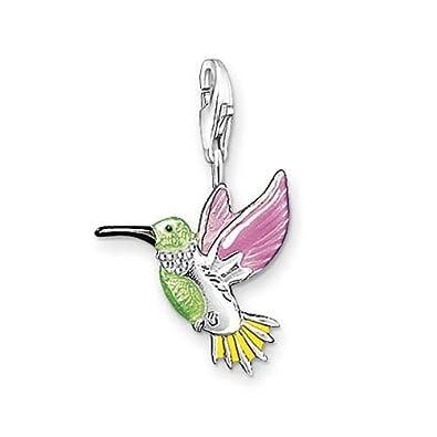Thomas Sabo 0655-007-7 Kolibri Charm Anhänger Silber grün/pink/gelb