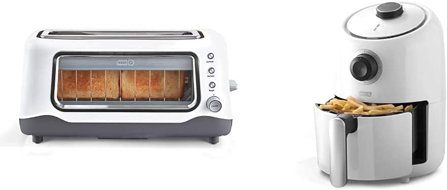 Dash Clear View Extra Wide Slot Toaster with Stainless Steel Accents + See Through Window-Defrost,White & Compact Air Fryer Oven Cooker with Temperature Control, Non Stick Fry Basket, 2qt, White