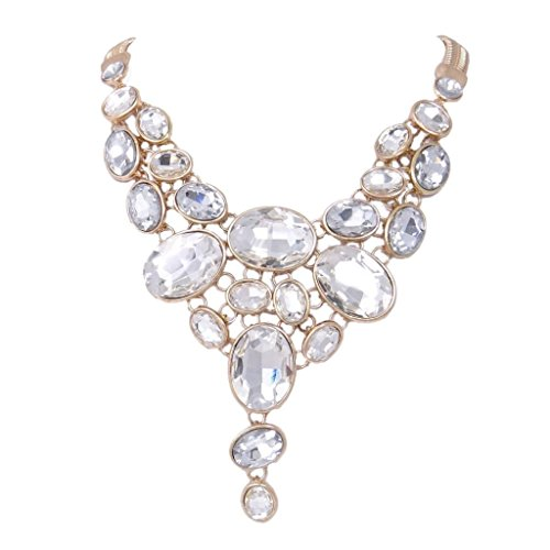 EVER FAITH Gold-Tone Art Deco Chunky Oval Clear Rhinestone Bib Statement Necklace