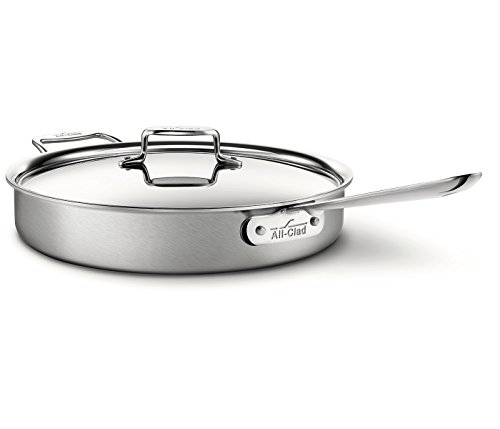 All-Clad BD5 Brushed Stainless Steel 6 Qt. Covered Saute Pan