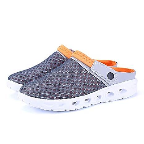 Worsworthy Chanclas para Unisex Adulto Zapatos de Agujero Hombres de Verano de Color Mezclado de Malla Zapatillas Transpirables Sandalias de Playa Agujero Zapatillas de Playa con Agujero de Color