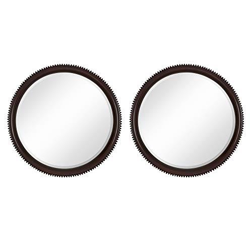Majestic Mirror Contemporary Round Dark Brown Wenge Circular Beveled Wall Mirror (2 Pack)