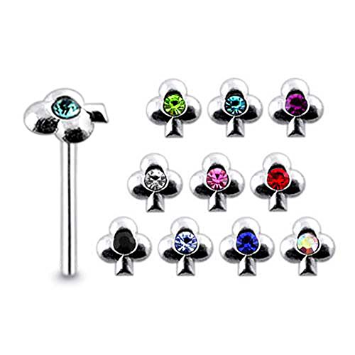 - Pack of 5 Pieces Mix Color Jeweled Clover 925 Sterling Silver 20Gx5/16 (0.8x8MM) Straight End Nose Pin