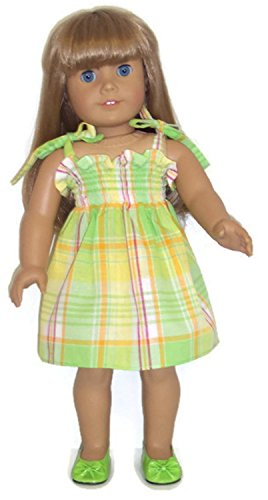 Doll Clothes Fits American Girl Doll and Other 18 Inch Dolls Green Plaid Sun Dress