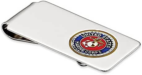 Sterling Silver U.S. Marine Corp Money Clip w/ gold border, silver anchor (2.05 Inches Wide)