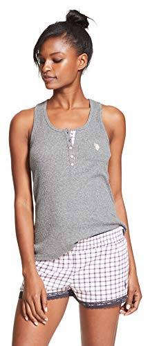 Ribbon Bow Tank Top - U.S. Polo Assn. Womens Pajama Sets Racerback Tank and Shorts Sleepwear PJs Set Charcoal Heather Storm X-Large