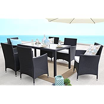 Baner Garden 7 Pieces Outdoor Furniture Complete Patio PE Wicker Rattan Garden Dining Set, Full, Black