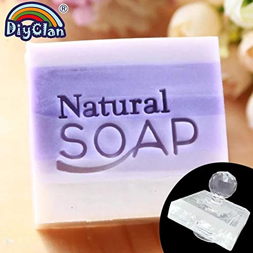 Dalab Natural Soap Handmade Resin Stamp Clear DIY Natural Organic Glass Soap Chapter with Handle Acrylic Soap Making Chapters Custom - (Color: Stamp with Handle)