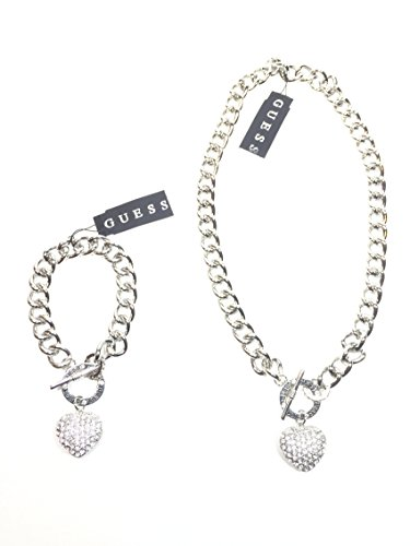 Set of Two Guess Silver Tone Bracelet and Necklace Puffed Heart Charm with ()