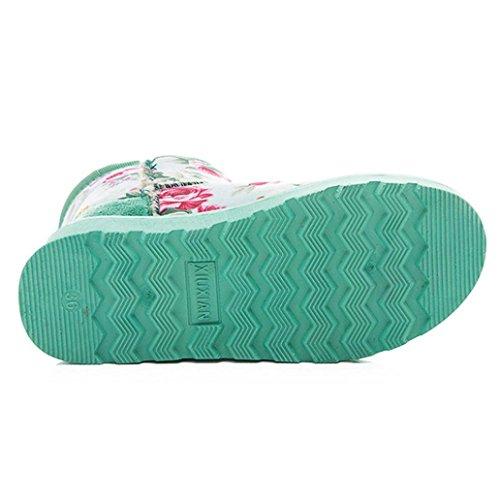 ® forrada las impresa otoño flor Moda Verde caliente Botas mujeres botas Ouneed de botas nieve piel de de Mujer tobillo invierno 6xqXw4pE