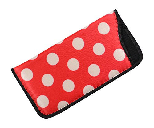 Soft Slip In Eyeglass Case And Holder For Women, Fun Polka Dot Design In Red