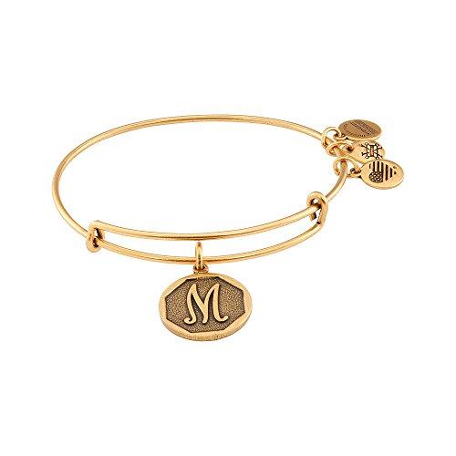Alex and Ani Rafaelian Gold-Tone Initial M Expandable Wire Bangle Bracelet, 2.5