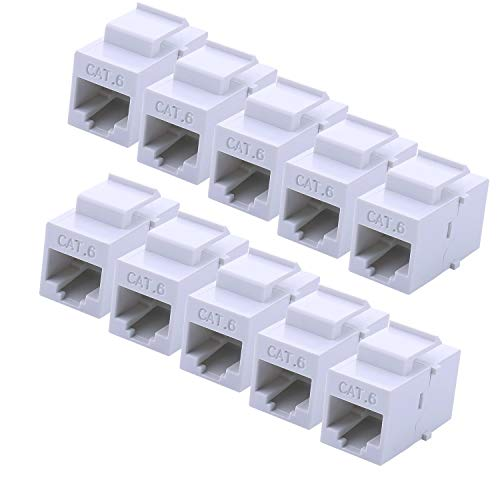Coupler Through - RJ45 Keystone Coupler - 10Pack iGreely Cat6 Cat5e Cat5 Compatible 8P8C Ethernet Network Jack Insert Snap in Adapter Connector Port Inline Coupler for Wall Plate Outlet Panel