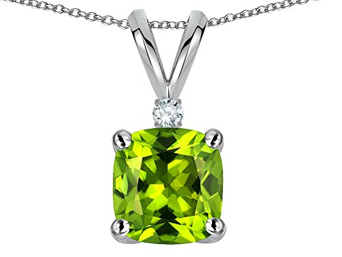 (Star K 7mm Cushion Cut Genuine Peridot Pendant Necklace 10 kt White Gold)