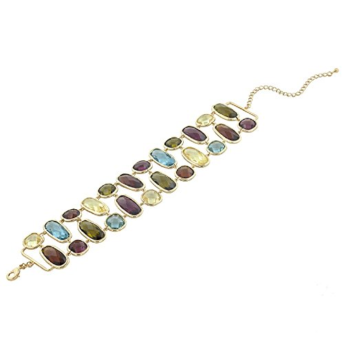 Element Jewelry 14k Gold Plated Bracelet with Multi-Colored Faceted CZs- 7 in + 3 in