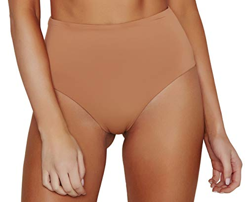 - ToBeInStyle Women's Moderate Coverage High Waist Bottom - Caramel - Small
