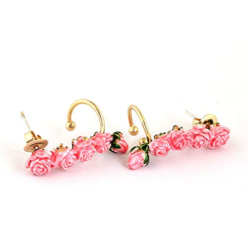 CAHM Rose Bud Earrings Female, Pink Earrings Plated with k Gold 925 Silver Needle European and American Style Earrings Dinner Party's Daily Earrings