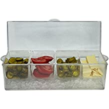 Large Clear Condiment Server Organizer on Ice with Containers and Lid – Serving Bar Compartments Hold 20 oz Portion and Plastic Box Tray are BPA Free – Chilled Caddy Dispenser Set Holds 10 Cups