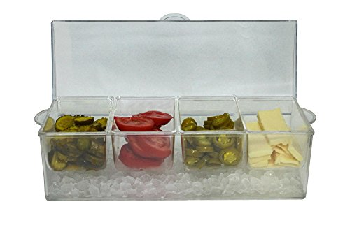 Bar Condiment Holder - Large Clear Condiment Server Organizer on Ice with Containers and Lid – Serving Bar Compartments Hold 20 oz Portion and Plastic Box Tray are BPA Free – Chilled Caddy Dispenser Set Holds 10 Cups
