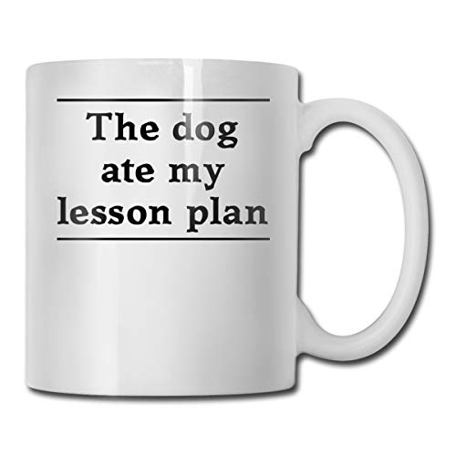 Riokk Az The Dog Ate My Lesson Plan 11oz Coffee Mugs Funny Cup Tea Cup Birthday Gift Ceramic -