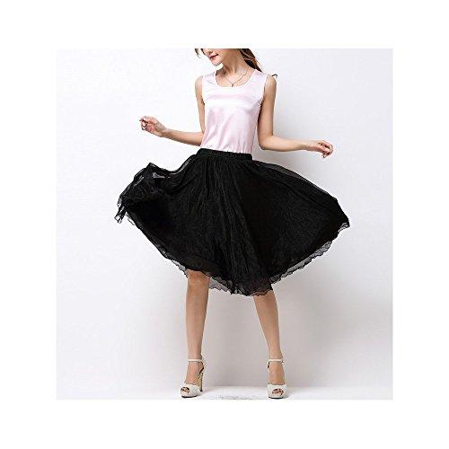 A Jupe Casual Femme Soie Noir de En Mousseline OCHENTA Basic Skirts Genou 5SwatUqxX