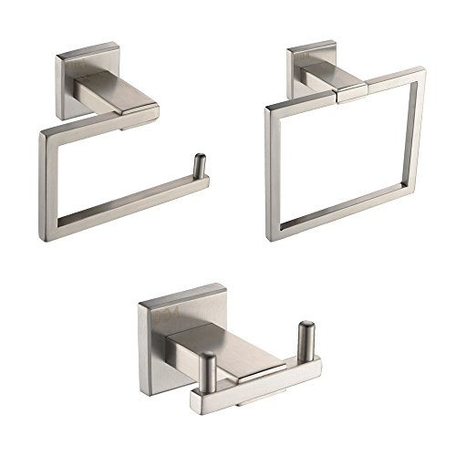 KES LA242-31 Bathroom Accessories Tissue Holder/Double Hook/Towel Ring SUS304 Stainless Steel Wall Mount, Brushed Finish