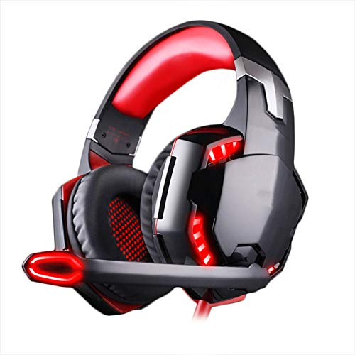 Computer Stereo Gaming Headphones Best Casque Deep Bass Game Earphone Headset with Mic LED Light for PC Gamer,G2000 red,China ()