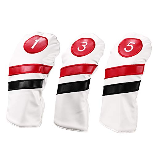 LONGCHAO Golf Head Covers 3pcs/Set Driver Fairway Wood Headcovers White Red and White Vintage PU Leather 1 3 5 Driver and Fairway Head Covers for Golf Club