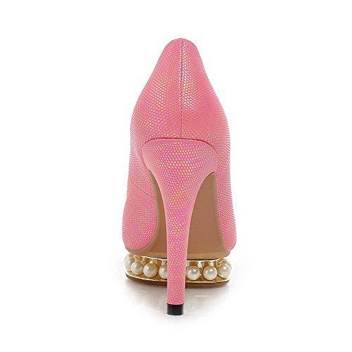 Amoonyfashion Womens Peep Toe Picchi Stiletto Morbido Materiale Solido Pull Su Sandali Rosa