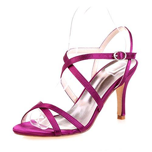 L@YC Women'S Wedding High Heels/Peep Toe/Platform/Comfort/Sandals Satin Wedding/Night Party & Purple