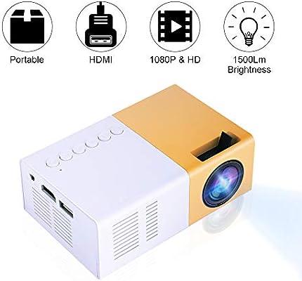 Tonysa - Mini proyector de Cine en casa portátil LED, 1080P HD Home Theater proyectores, soporta HDMI AV VGA USB Micro SD para entretenimientos/Cine ...