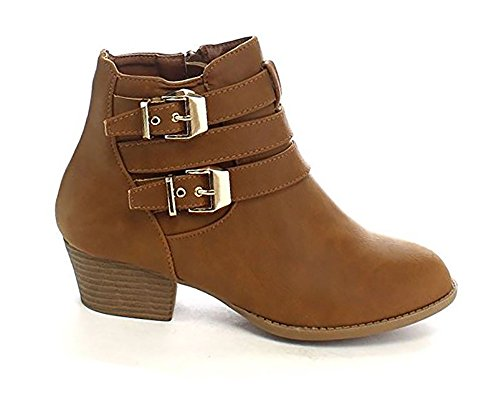Top Moda Frauen Side Zip High Block Heel Ankle Booties Tanc *