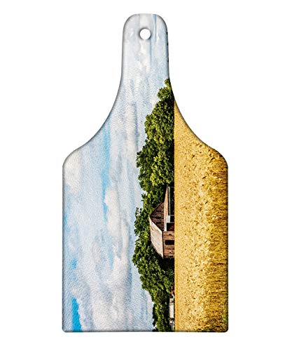 Ambesonne Kansas Cutting Board, Pastoral Photo of Cottage front of Trees in a Wheat Field Countryside, Decorative Tempered Glass Cutting and Serving Board, Wine Bottle Shape, Pale Camel and Multicolor